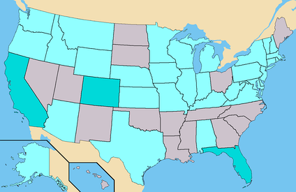 Dark Turquoise - States where Hoefling had ballot access. (93 Electoral)Light Turquoise - States where Hoefling had Write-In access. (315 Confirmed)Total - 408 Electoral