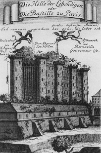 Dragons destroy the Bastille on the title page of Bucquoy's Die Bastille oder die Hölle der Lebenden.