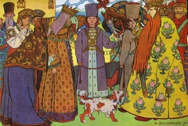 The Tsar's departure and farewell, by the Russian artist Ivan Bilibin (1905), corresponds to the Introduction to Act 1, and the first movement of Rimsky-Korsakov's suite from the opera (1903).