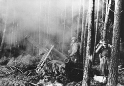 A German infantry gun firing in defense against a U.S. attack on 22 November 1944 in the Hürtgen forest