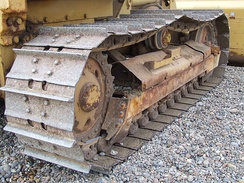 Continuous tracks on a bulldozer