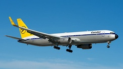 Condor Boeing 767-300ER wearing a 1970s retro livery