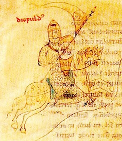 Dipold, Count of Acerra in an illustration from the  Liber ad honorem Augusti by Petrus de Ebulo, 1196.