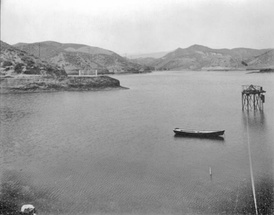 Looking north across the reservoir when filled with water. Photo taken before 1936.