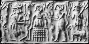 Ancient Sumerian cylinder seal impression showing the god Dumuzid being tortured in the Underworld by galla demons