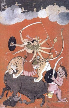 The Hindu warrior goddess Durga killing the buffalo-demon Mahishasura.