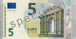 5 euro note from the new Europa series written in Latin (EURO) and Greek (ΕΥΡΩ) alphabets, but also in the Cyrillic (ЕВРО) alphabet, as a result of Bulgaria joining the European Union in 2007.