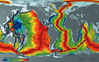 Age of oceanic crust. The red is most recent, and blue is the oldest.