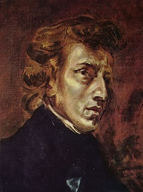 Chopin at 28, from Delacroix's joint portrait of Chopin and Sand (1838)
