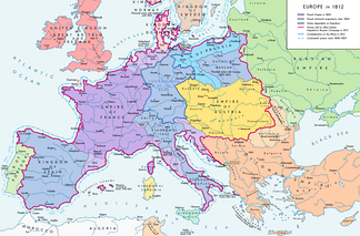 The French Empire in Europe in 1812, near its peak extent