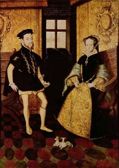 The Habsburg Philip II of Spain and his wife, the Tudor Mary I of England. Mary and Philip were first cousins once removed.