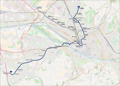 Route map of the tramway