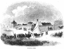 Fort Pembina and Red River ox carts, c. 1870