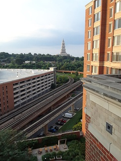 George Washington Masonic National Memorial and elevated Blue Line Metro tracks seen from a high-rise on Eisenhower Avenue