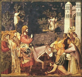 Jesus enters Jerusalem and the crowds welcome him, by Giotto, 14th century.