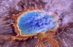 Grand Prismatic Spring in Yellowstone National Park, Wyoming; Yellowstone was the first national park in the world.