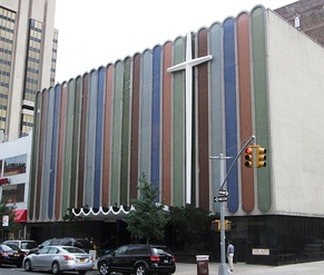 The Greater Refuge Temple in Harlem, New York City is the Church's headquarters.  It was founded by Lawson in 1919 and worshipped in two other locations before moving to this building, a former casino and theater, in 1945.  The facade was added in 1966.[1]