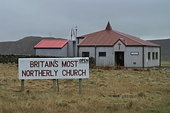 The Methodist chapel in Haroldswick is the northernmost church in Britain. Methodism has a strong presence in the Shetland Islands.