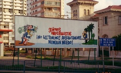 Propaganda sign in front of the United States Interests Section in Havana