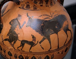 Belly amphora of the Northampton Group, the liberation of Io (in the form of a cow) by Hermes, who rushes to the scene, c. 540/530 BC, found in Italy, now in the Munich State Collection of Antiquities