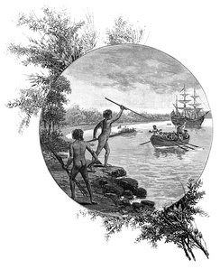 A 19th-century engraving showing Australian natives opposing the arrival of Captain James Cook in 1770