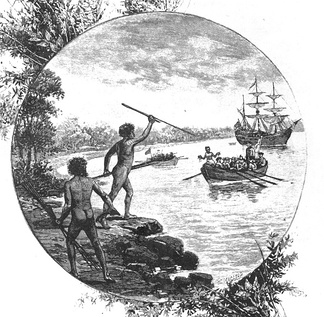 A 19th-century engraving showing natives of the Gweagal tribe opposing the arrival of Captain James Cook in 1770.
