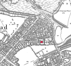 Keats Grove, then known as John Street on part of the 1866 Ordnance Survey map for London with Wentworth Place (Keats House) shown in red; the field marked as 276 is now Heath Hurst Road housing and the pond 277 is filled in.