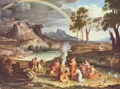 Depiction of the rainbow in the Book of Genesis