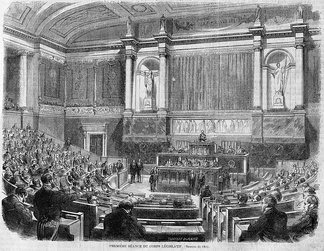 A meeting of the Corps Legislative in the Palais Bourbon in 1862