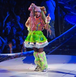 Gaga in the rave girl inspired dress worn during the last segment