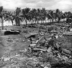 The damage caused by a tsunami at Barangay Tibpuan, Lebak, Mindanao after the 7.9 Moro Gulf Earthquake on August 16, 1976.