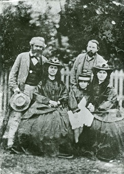 Eleanor Marx (middle) with her two sisters - Jenny Longuet, Laura Marx, father Karl Marx and Friedrich Engels
