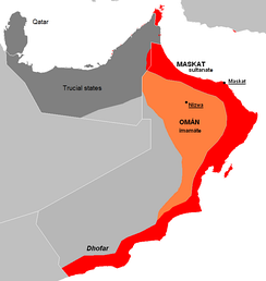 The split between the interior region (orange) and the coastal region (red) of Oman and Muscat