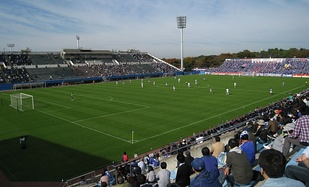 Mitsuzawa Stadium, one of the two home stadiums of the Yokohama F. Marinos
