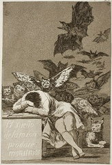 The Sleep of Reason Produces Monsters, c. 1797, 21.5 cm × 15 cm (8 1⁄2 in × 5 7⁄8 in)