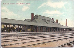 Old Colony Railroad Station in New Bedford, as it looked c. 1907–1915. As early as 1840, New Bedford was integrated into the northeastern economy by rail.[11]