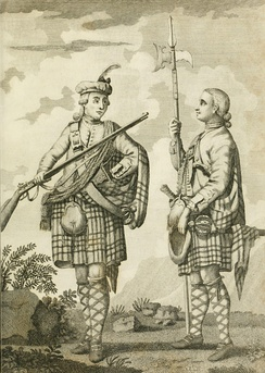 Soldiers of the Black Watch armed with Brown Bess muskets, c. 1790