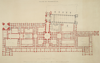 Layout of the principal floor (north is to the right). The debating chambers of the two Houses and their ante-rooms lie on opposite sides of the Central Lobby and are part of the central spine of the Palace, which includes the suite of ceremonial rooms to the south. The Victoria Tower occupies the south-west corner and the Speaker's House takes up the north-east corner; the Elizabeth Tower is at the far north and Westminster Hall protrudes to the west.