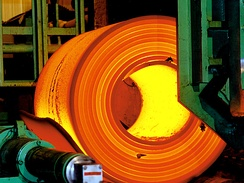 Steel being rolled at an ArcelorMittal facility in Brazil.