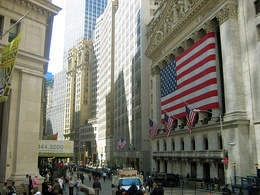 Looking north from the New York Stock Exchange, New York City, 2005