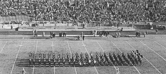 "The Pitt Band, shown here during the 1952 football season in Pitt Stadium,  would perform and sing ""Hail to Pitt"" at the end of each pre-game football show"