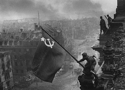 The Soviet  Flag over the Reichstag photograph, taken during the Battle of Berlin on 2 May 1945