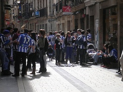 Real Sociedad supporters at the streets of San Sebastián