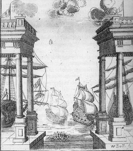 This naval battle was one of the sets for Elkanah Settle's Empress of Morocco (1673) at the theatre in Dorset Garden.