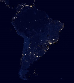 Satellite view of South America at night from NASA.