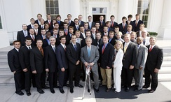 The Syracuse University Orange men's lacrosse team are honored at the White House by President of the United States George W. Bush for their winning the 2008 National Collegiate Athletic Association Division I national championship.