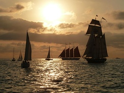 Silhouetted ships during the Festival of Tall Ships in 2011
