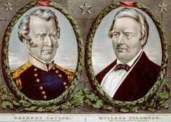 A color campaign banner with portraits of Zachary Taylor on the left and Fillmore on the right