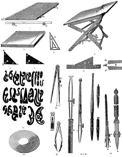 Old-fashioned technical drawing instruments