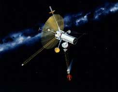 Concept art for the TAU spacecraft, a 1980s era study which would have used an interstellar precursor probe to expand the baseline for calculating stellar parallax in support of Astrometry